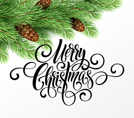 Greeting card with christmas tree and calligraphic sigh Merry Christmas. Vector holiday illustration 版權商用圖片 - 87776411