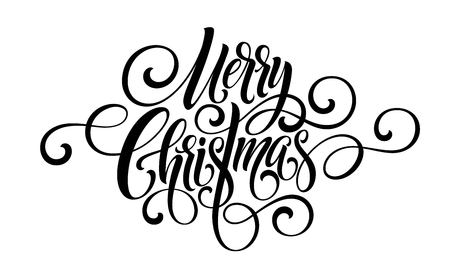 Merry Christmas handwriting script lettering. Vector illustration