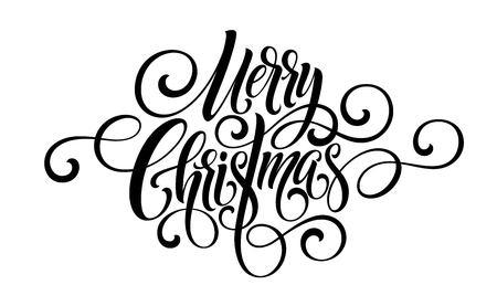 Vrolijk kerstfeest handschrift script belettering. Vector illustratie