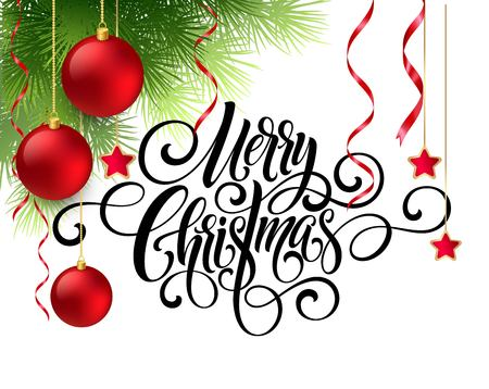Merry Christmas handwriting script lettering. Greeting background with a Christmas tree and   decorations. Vector illustration