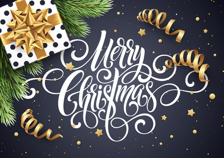 Merry Christmas handwriting script lettering. Christmas congratulatory background with a gift, streamers, confetti. Vector illustration Ilustracja