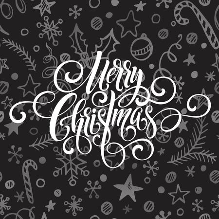 Merry Christmas greeting  handwriting script letteringx on a chalkboard greeting . Vector illustration