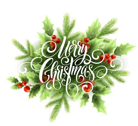 メリー クリスマス手書きスクリプトの文字。ヒイラギのクリスマス グリーティング カード。ベクトル図