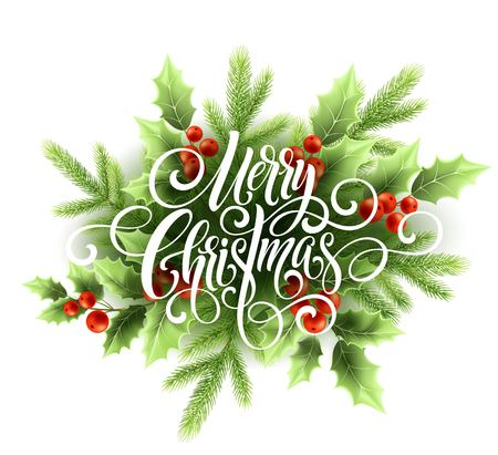 Merry Christmas handwriting script lettering. Christmas greeting card with holly. Vector illustration Stok Fotoğraf - 87776476