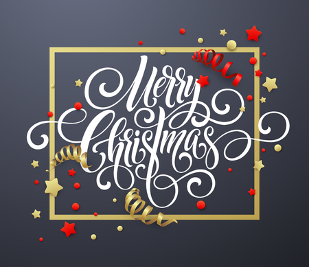 Merry Christmas handwriting script lettering. Christmas congratulatory background with streamers, confetti. Vector illustration