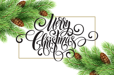 Greeting card with christmas tree and calligraphic sigh Merry Christmas. Vector holiday illustration