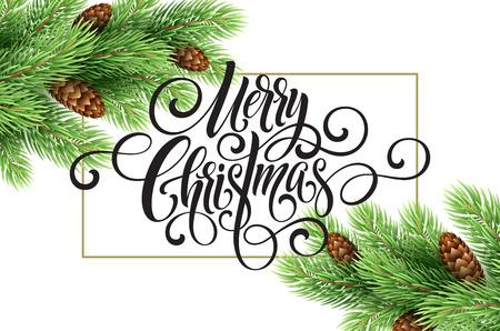 Wenskaart met kerstboom en kalligrafische zucht Merry Christmas. Vector vakantie illustratie