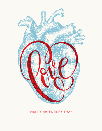 Valentines day card with Human heart and Love lettering. Vector illustration Illustration
