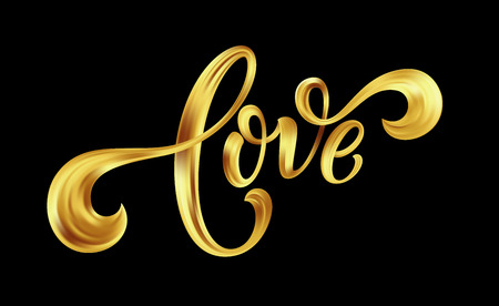 Love gold lettering text on background, hand painted letter, golden valentines day handwritten calligraphy for greeting card, invitation, wedding, save the date. Vector illustration