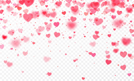 Heart confetti falling on transparent background. Valentines day card template. Vector illustration Illustration