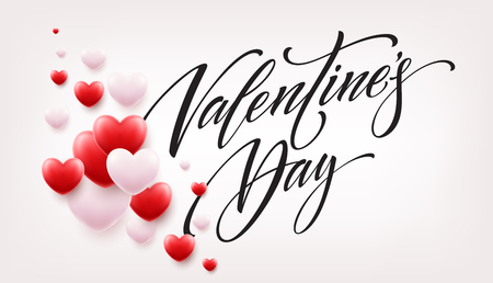 Happy valentines day lettering with red hearts balloon background. Vector illustration