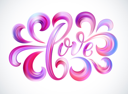 Love word hand drawn lettering. Color Paint brush texture. Modern calligraphy. Valentines Day Design for print on card, poster, banner. Vector illustration Stock Vector - 93128485