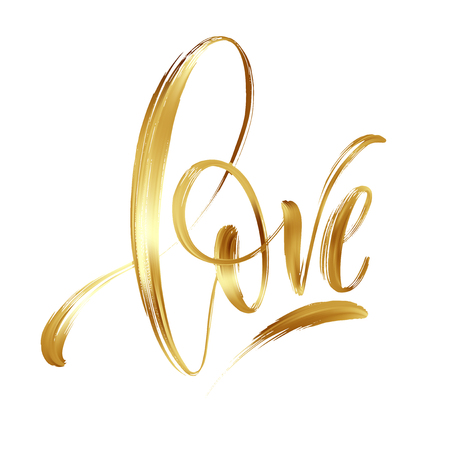 Love gold hand drawn brush calligraphy. Vector illustration