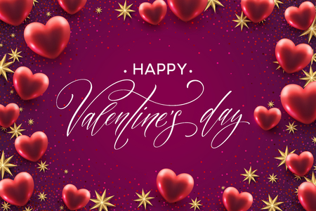 Happy valentines day lettering with red hearts balloon background. Vector illustration Stok Fotoğraf - 93128499