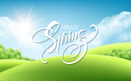 Beautiful spring landscape background vector illustration.