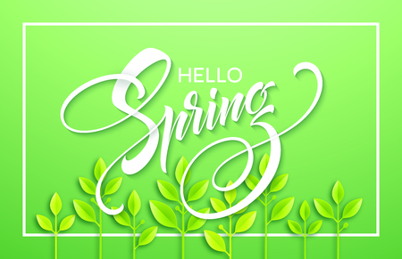 Hello spring with paper green leaves background vector illustration.