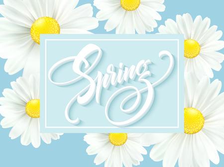 Inscription calligraphique Bonjour printemps avec fleur de printemps, illustration vectorielle floraison daisy blanc.