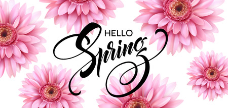 Gerbera Flower and Hello Spring Lettering
