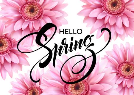 Gerbera Flower Background and Hello Spring Lettering. Vector Illustration EPS10 Illustration