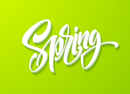 Hello Spring lettering. Hand drawn calligraphy, green background. Vector illustration
