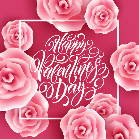 Valentines Day Lettering With Flying Roses background. Vector illustration Illustration