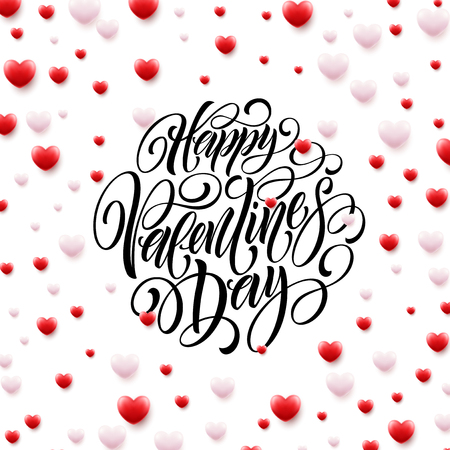 Happy Valentine Day Calligraphy Background With 3D Hearts. Vector illustration