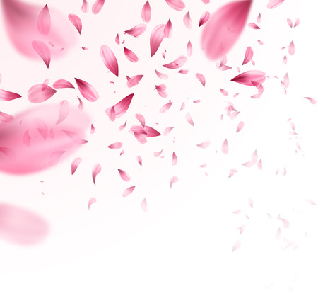 Pink sakura falling petals background. Vector illustration Фото со стока - 93711445