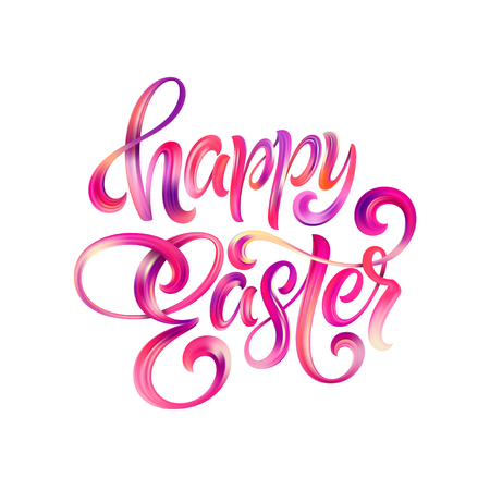 Happy Easter colorful paint lettering Illustration