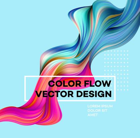 Poster moderno flusso colorato. Forma liquida dell'onda nel fondo blu di colore. Art design per il tuo progetto. Illustrazione vettoriale