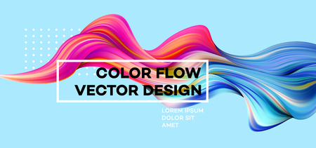 Modern colorful flow poster. Wave Liquid shape in blue color background. Art design for your design project. Vector illustration. Zdjęcie Seryjne - 94806461