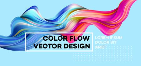 Nowoczesny kolorowy plakat przepływu. Fala Płynny kształt na niebieskim tle. Projekt artystyczny dla twojego projektu projektowego. Ilustracji wektorowych. Ilustracje wektorowe