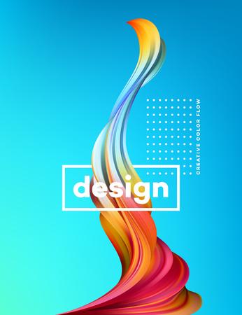 Moderne kleurrijke stroomposter. Golf Vloeibare vorm op blauwe kleurenachtergrond. Kunstontwerp voor uw ontwerpproject. Vector illustratie Stock Illustratie