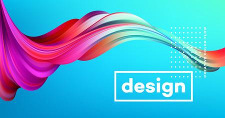 Nowoczesny kolorowy plakat przepływu. Fala Płynny kształt na niebieskim tle. Projekt artystyczny dla twojego projektu projektowego. Ilustracji wektorowych.