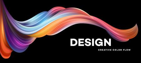 Cartaz de fluxo colorido moderno. Forma líquida da onda no fundo preto da cor. Design de arte para o seu projeto de design. Ilustração vetorial