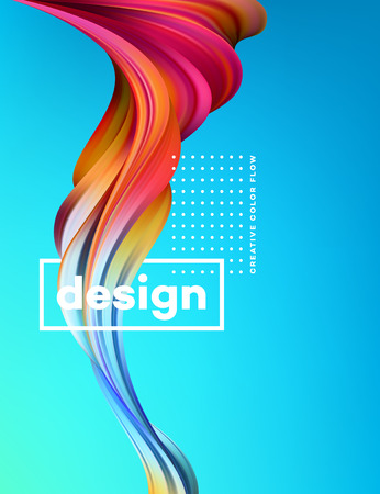 Cartaz de fluxo colorido moderno. Forma líquida da onda no fundo azul da cor. Design de arte para o seu projeto de design. Ilustração vetorial Ilustración de vector