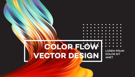 Affiche moderne de flux coloré. Forme liquide Wave sur fond de couleur noire. Art design pour votre projet de design. Illustration vectorielle