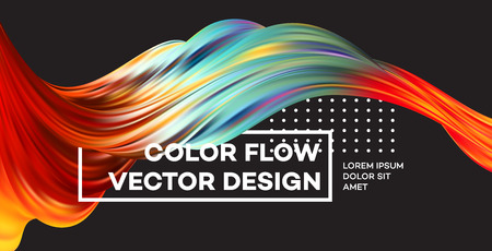 現代のカラフルなフローポスター。黒い色の背景の波の液体の形。デザイン プロジェクトのアート デザイン。ベクトルイラスト。