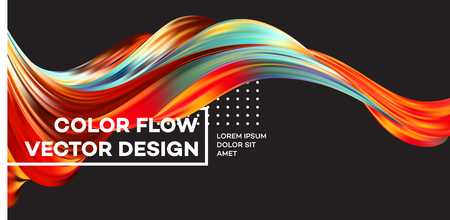 Modern colorful flow poster. Wave Liquid shape in black color background. Art design for your design project. Vector illustration. Vettoriali