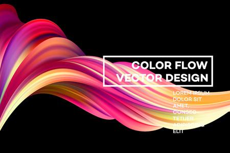 Modern colorful flow poster. Wave Liquid shape in black color background. Art design for your design project. Vector illustration.  イラスト・ベクター素材