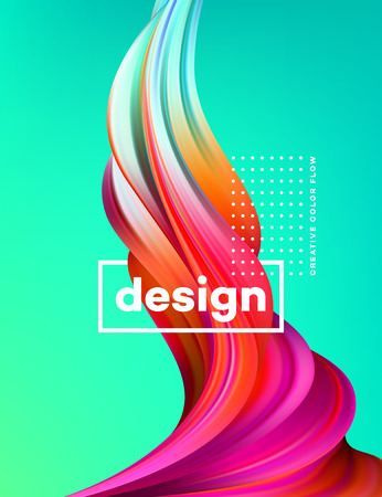 Modern colorful flow poster. Wave Liquid shape in green color background. Art design for your design project. Vector illustration.