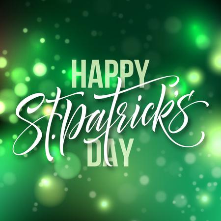 St. Patricks day card greeting lettering on green bokeh background. Vector illustration.