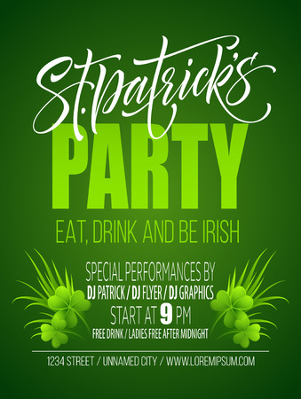 Saint Patricks Day Poster Design Background. Calligraphic Lettering Inscription Happy St Patricks Day.