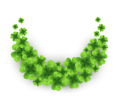 Saint Patrick's day background with sprayed clover leaves or shamrocks. Vector illustration.