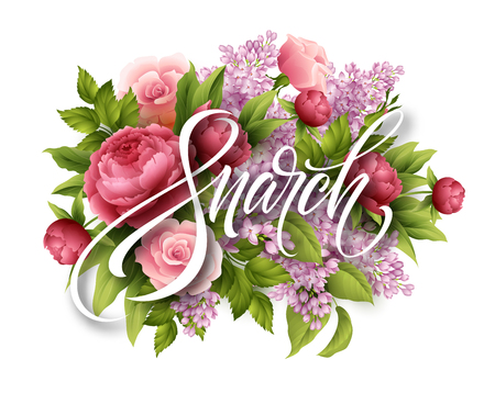 Happy Womens day on March 8. Design of modern hand calligraphy with flower vector illustration.