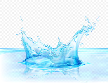 Translucent water splash isolated on transparent background vector illustration. 向量圖像