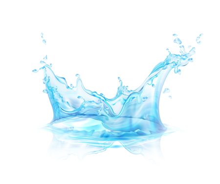 Translucent water splash isolated on transparent background vector illustration. Stock Illustratie