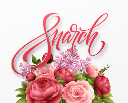 Happy womens day on March 8. Design of modern hand calligraphy with flower. Vector illustration