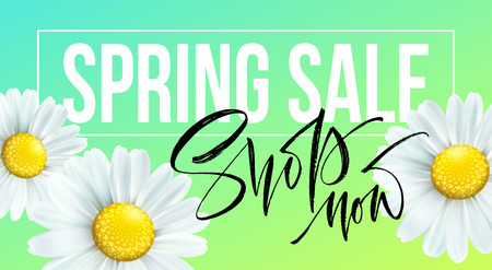 Spring sale banner vector illustration Ilustracja