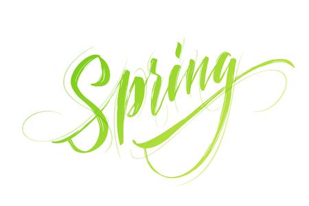 Spring handwritten lettering vector illustration