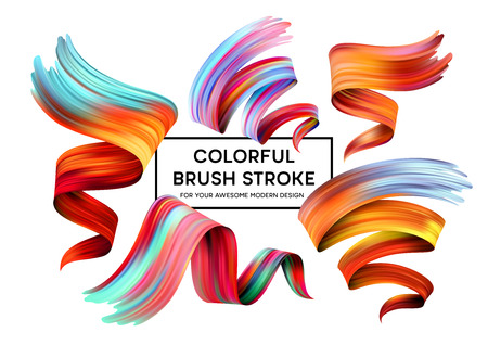 Set of colorful brush strokes. Modern design element  Vector illustration Vectores